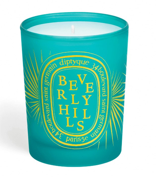 green candle with beverly hills text