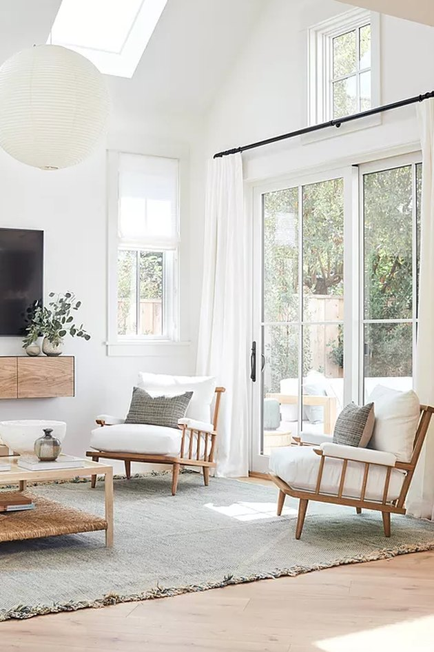 Scandinavian living room with natural light from windows and skylights