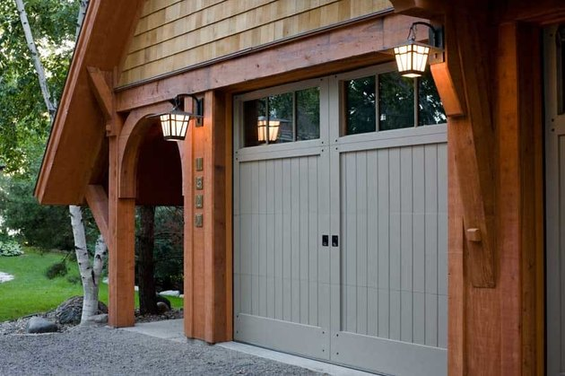 gray tongue and groove craftsman style garage doors