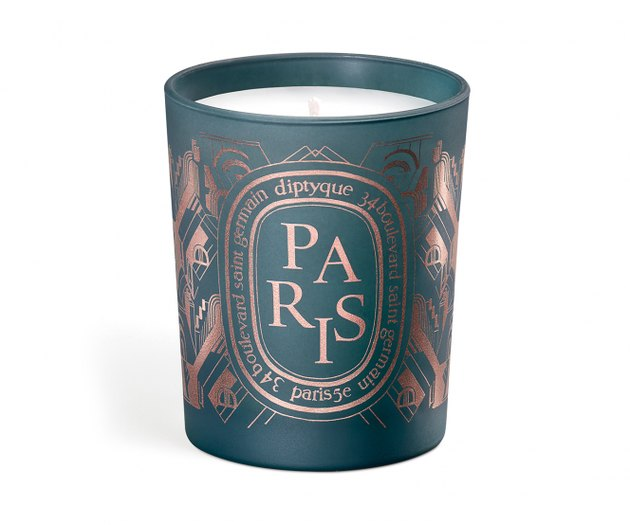 green candle with paris text