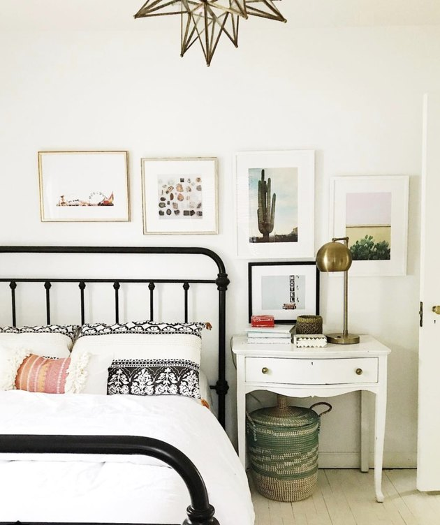 House Seven Design iron bed frame paired with vintage nightstand