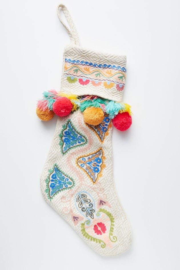 multicolored pom pom stocking