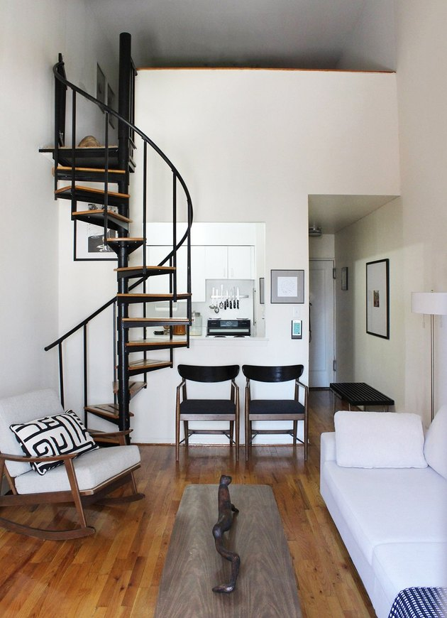 metal and wood spiral staircase for small space near living room