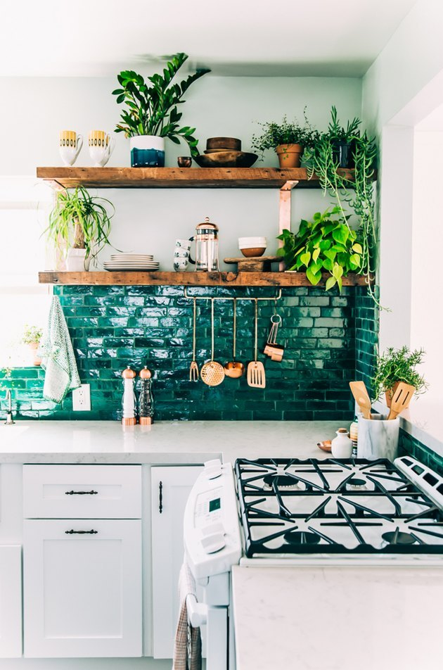 bohemian kitchen idea with green subway tile backsplash and open shelving filled with plants