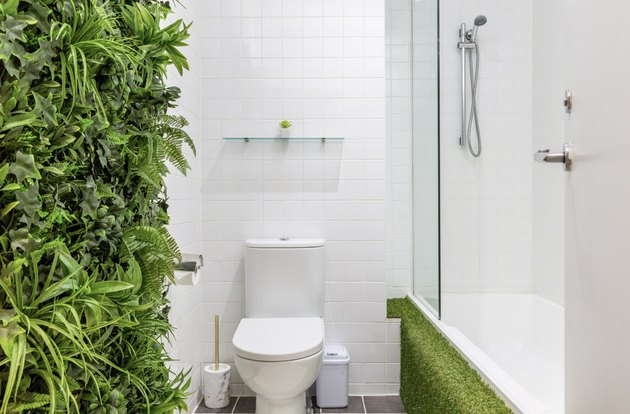 bathroom with garden wall