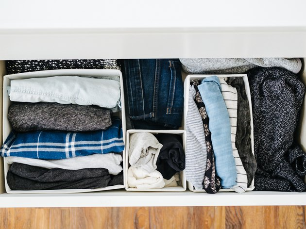 bedroom closet idea with boxes inside drawers to organize clothes