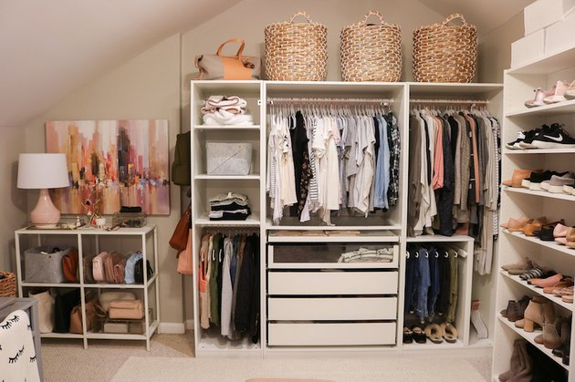 Walk-In bedroom closet idea by Blogger Lauren Loves with shelving, drawers, nooks, baskets and hanging clothes