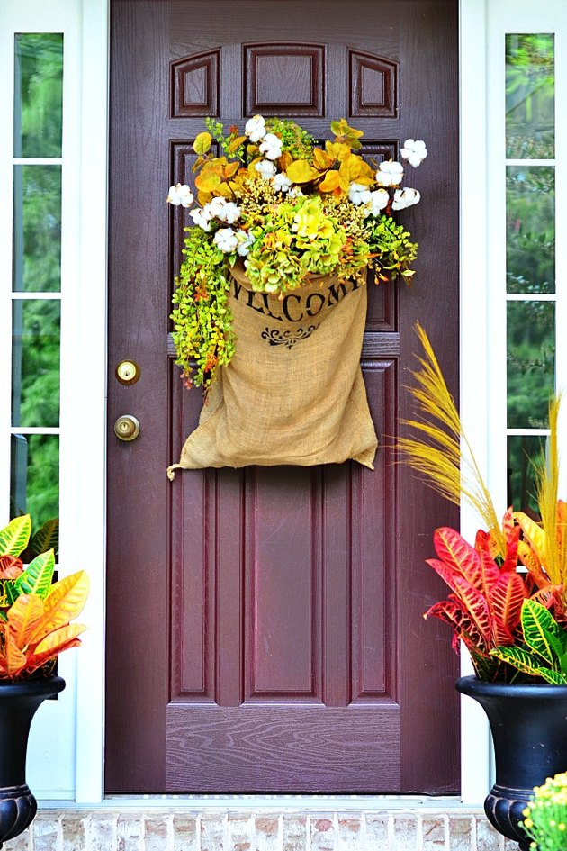 fall-inspired decor for front door
