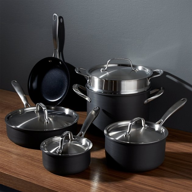 black ceramic pots and pans set from cuisinart