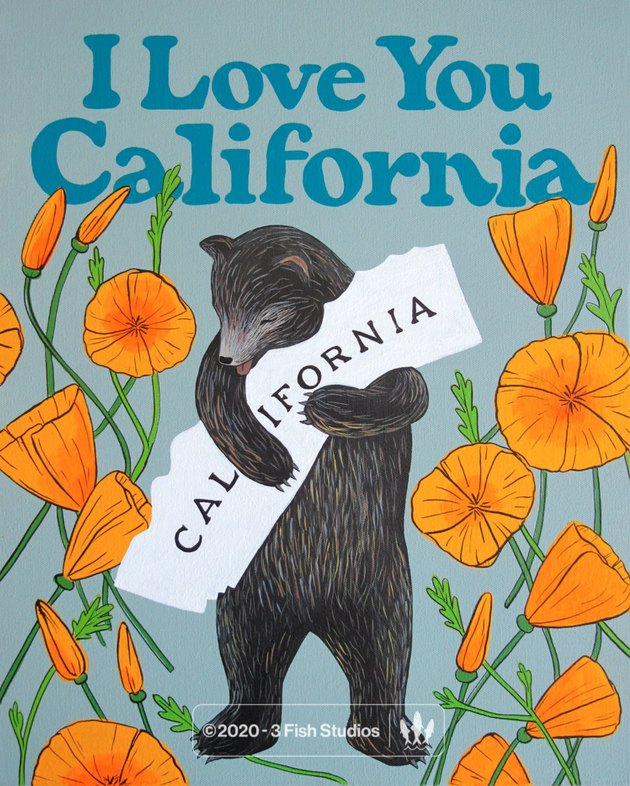 "3 Fish Studios ""I Love You California"" Poppy Print"