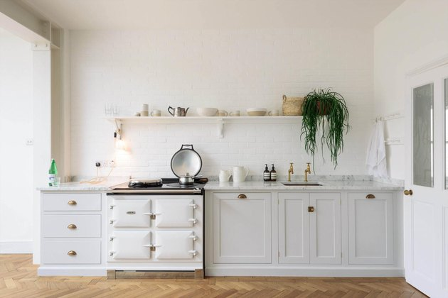 white kitchen with white retro stove