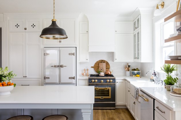 white kitchen with retro stove