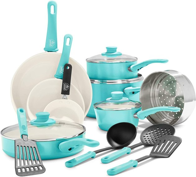 turquoise-colored ceramic pots and pans set