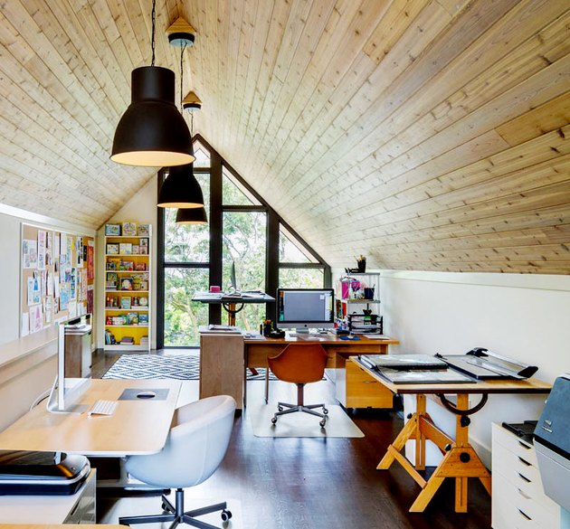 bonus room above garage idea with wood adorned ceiling and white walls for office