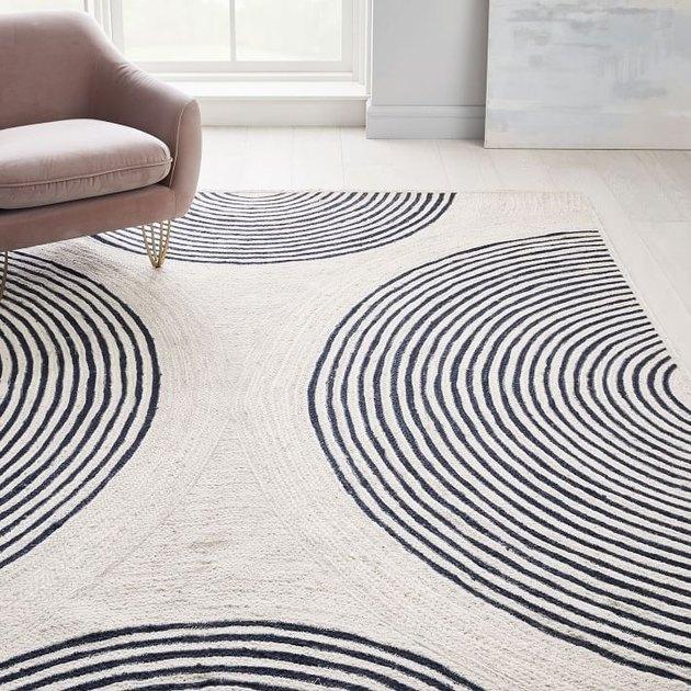 cream and black rug