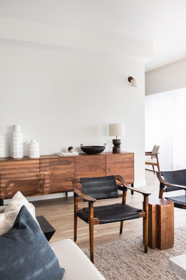 Scandinavian living room style with wood furniture and minimalist design