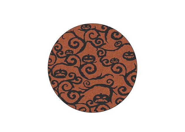 Halloween Night Rust Orange Round Rug