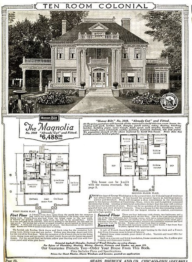 "black and white advertisement with images and text, large text at the top reads ""Ten Room Colonial"""