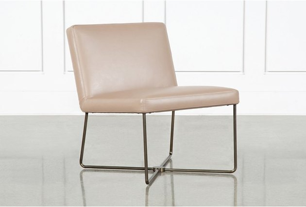 armless taupe leather chair