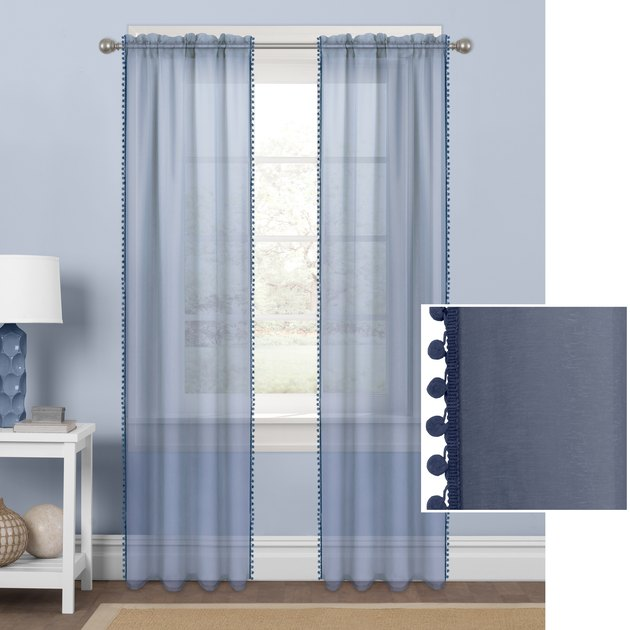 Mainstays Sheer with Pom-Poms Single Window Curtain Panel, $10.89