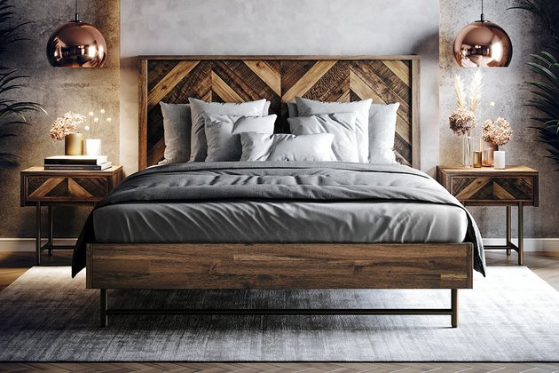 platform bed in grey room