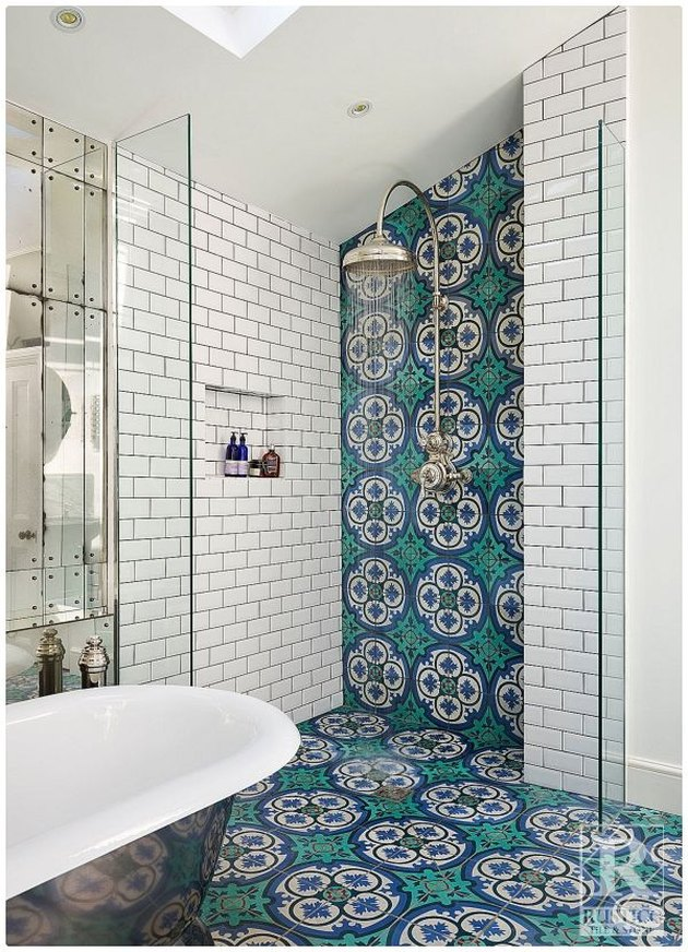 Blue and green tile up a shower wall