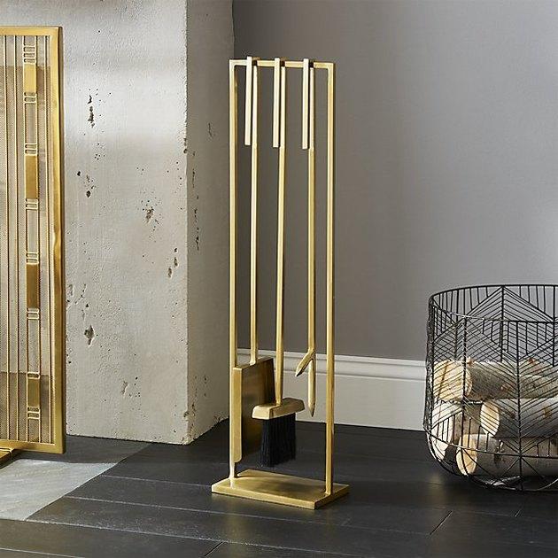 cb2 gold fireplace set