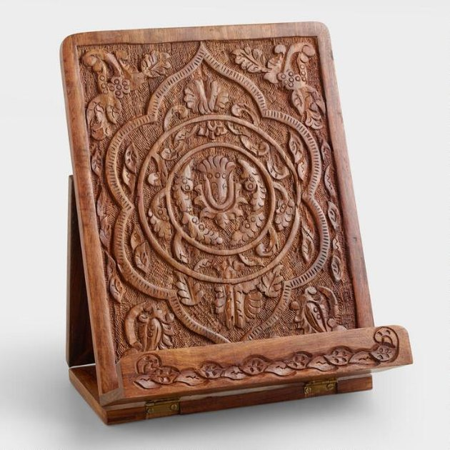 hand-carved tablet stand from World Market