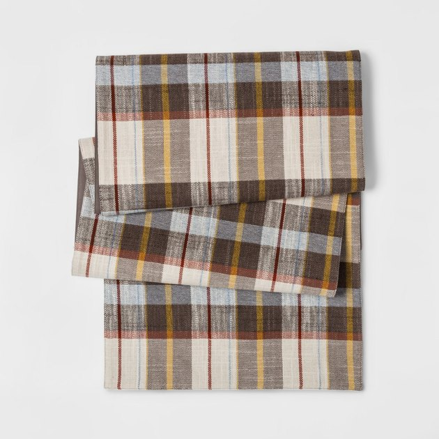 brown and cream plaid table runner