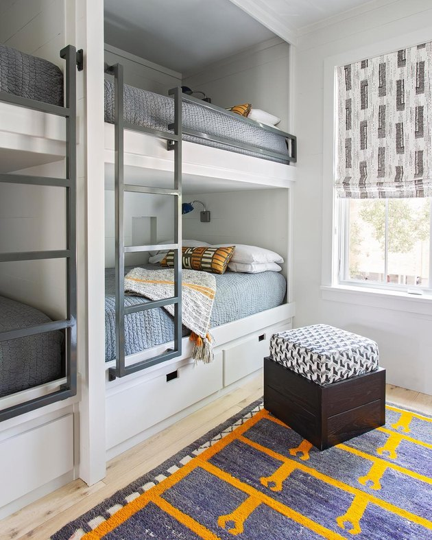 built in bunk beds accented with bold patterns