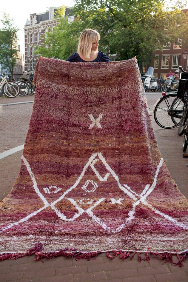 Vintage burgundy rug from Morocco