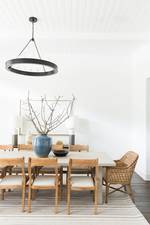 dining room with oversize twig centerpiece