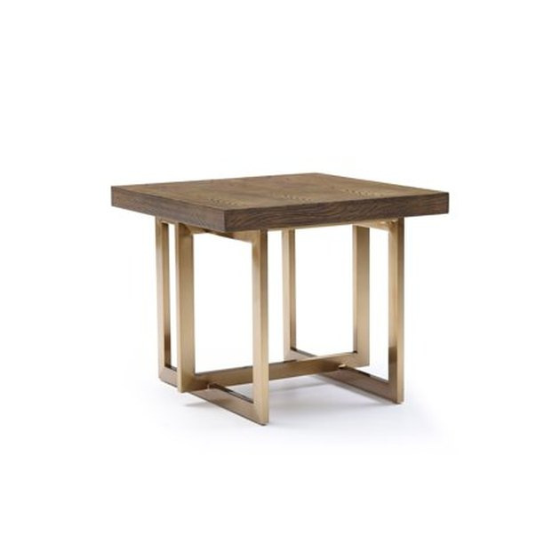 Modrest Pike Modern Elm and Antique Brass End Table, $660.73