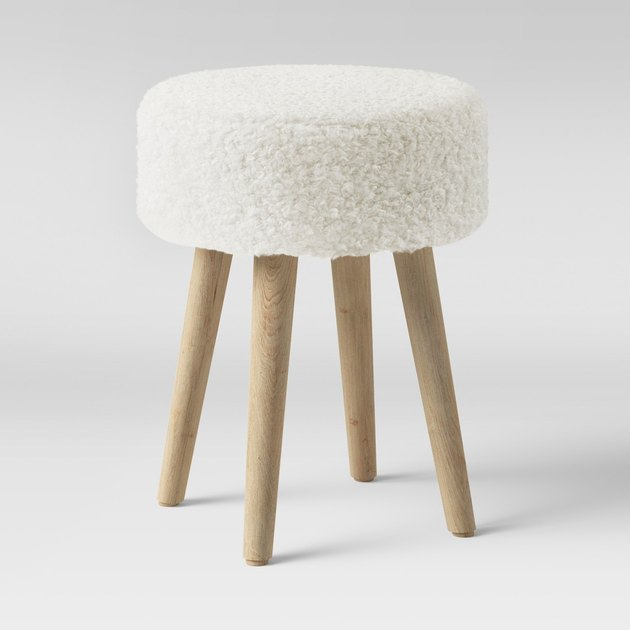 faux fur ottoman with wood legs