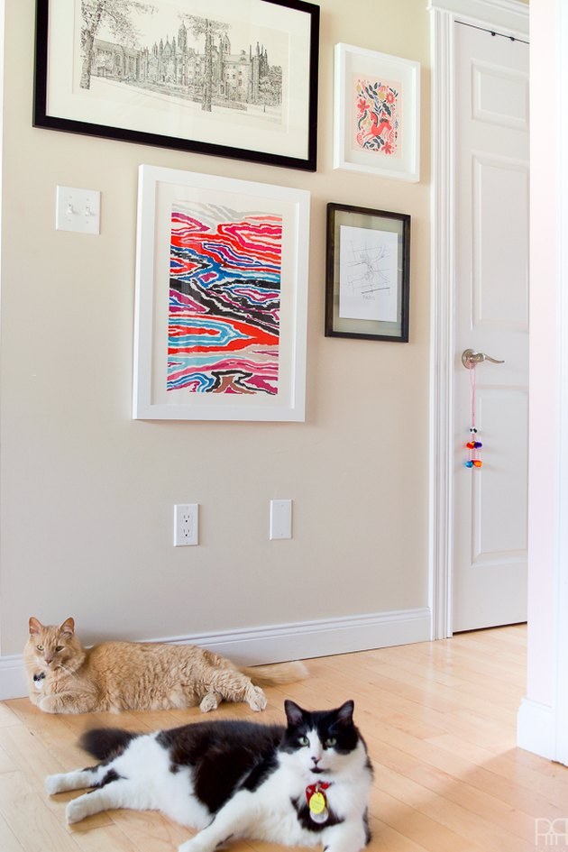 hallway with cats and framed art prints