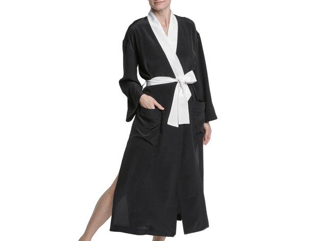 black silk robe