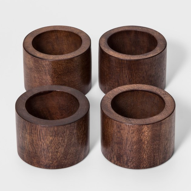 four wood napkin rings