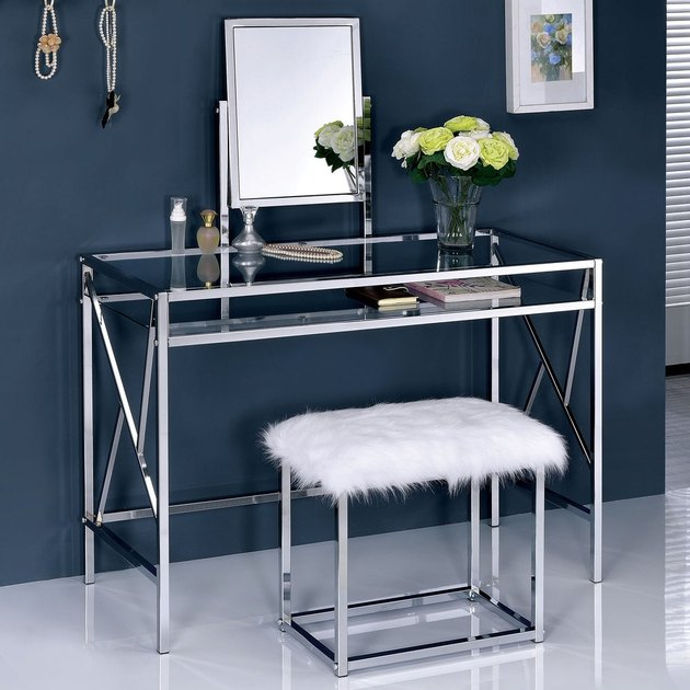 silver vanity set with navy background