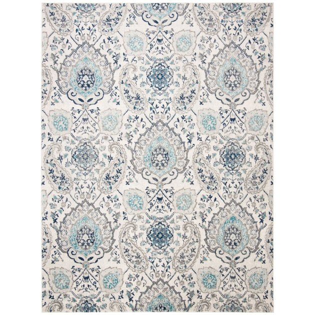 white and blue vintage boho paisley rug