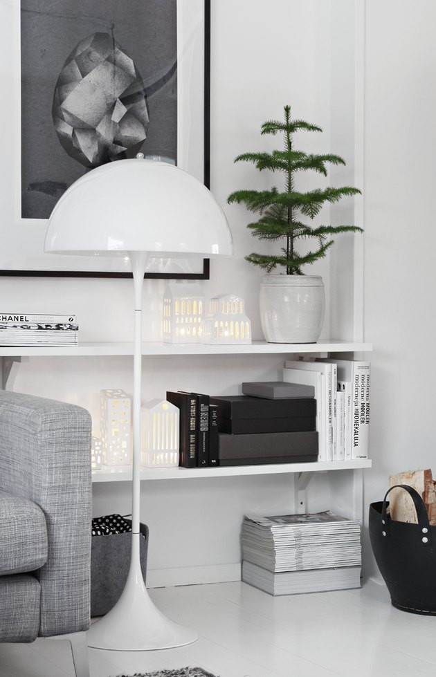 black and white scandinavian interior with mini potted pine tree
