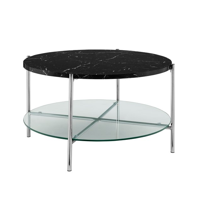 black marble and silver coffee table
