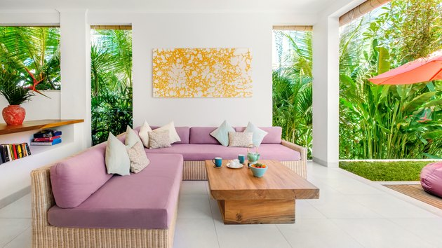 living room space with pink couch