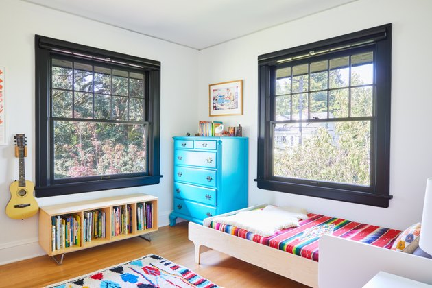 kid's room with black trim