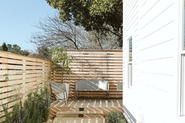 patio with wood fence enclosure