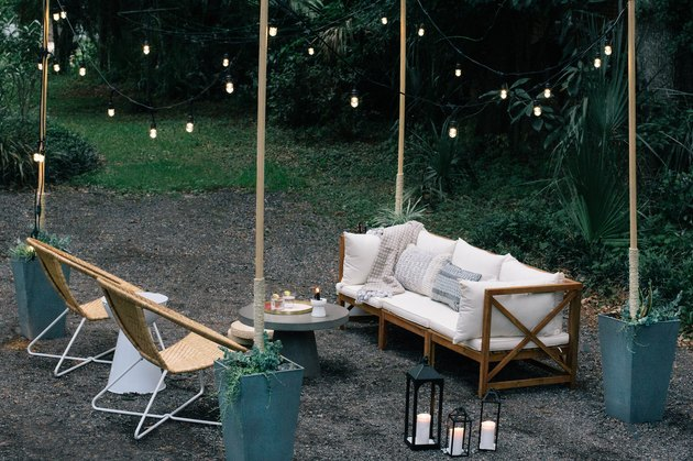 outdoor living room with string lights