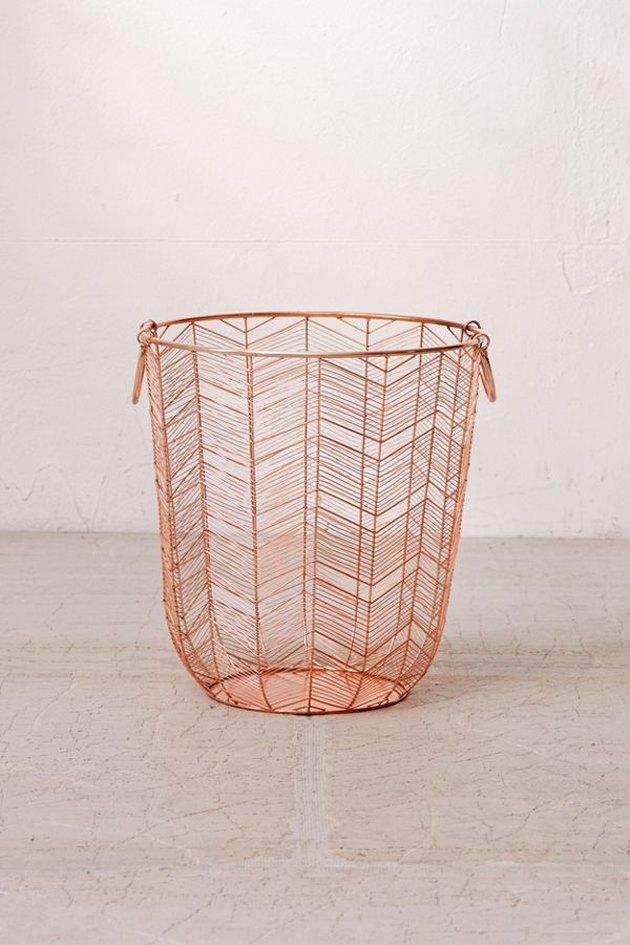 rose gold metal basket