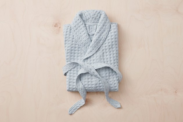 light grey textured bathrobe