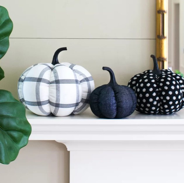 three fabric pumpkins