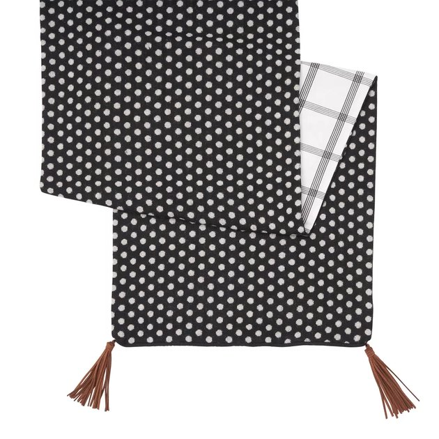 reversible table runner in polka dot and windowpane pattern
