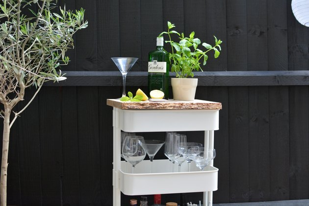 IKEA cart used as an outdoor drinks station.